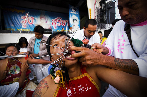 Face Piercing at Kathu Shrine in Phuket