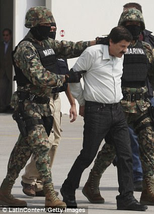 El Chapo was the head of the Sinaloa cartel between the 1980s and until he was caught. He is pictured in 1993 (left) after his first arrest and in 2014 (right) when he was recaptured after escaping from jail in 2001