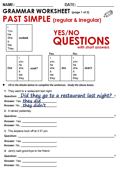 Yes No Questions Past All Things Grammar