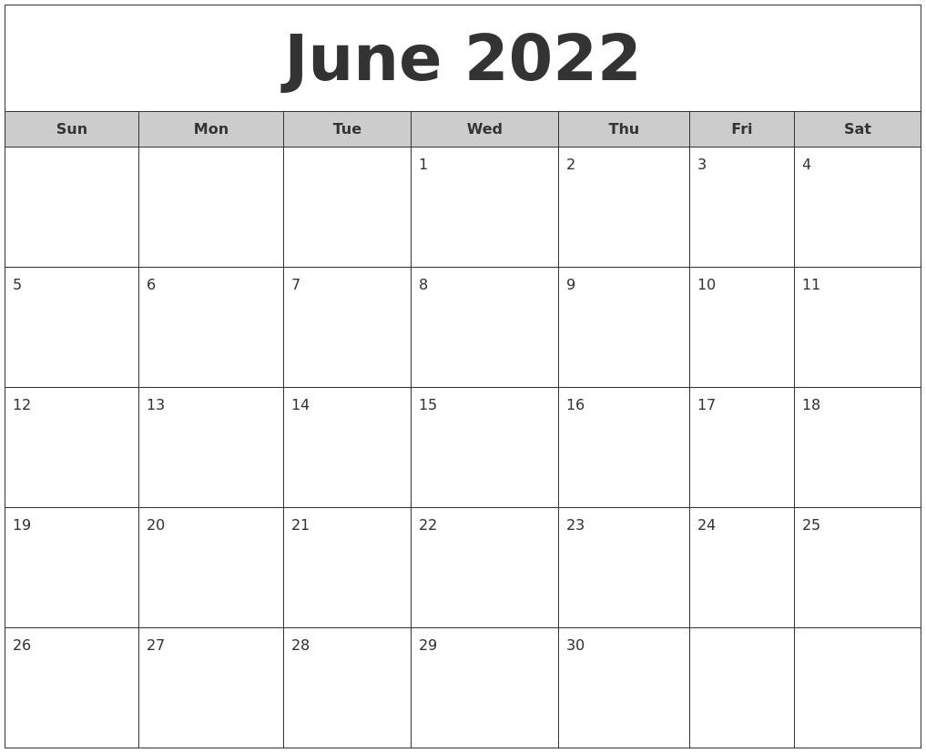 june 2022 free monthly calendar