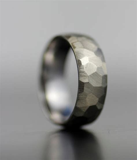 mens wedding band white gold  platinum hand faceted