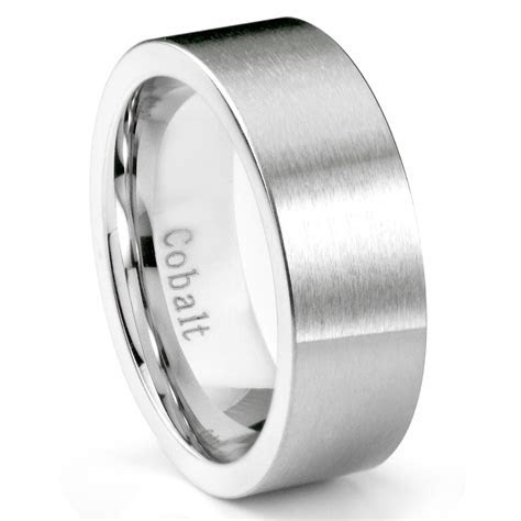 Cobalt Chrome 8MM Brushed Pipe Cut Wedding Band Ring