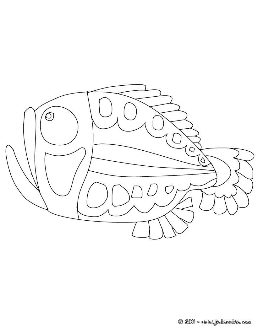 Coloriage gratuit de poisson d avril