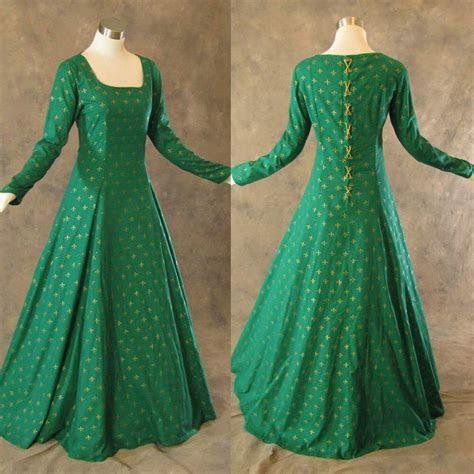 medieval renaissance gown green gold dress costume lotr