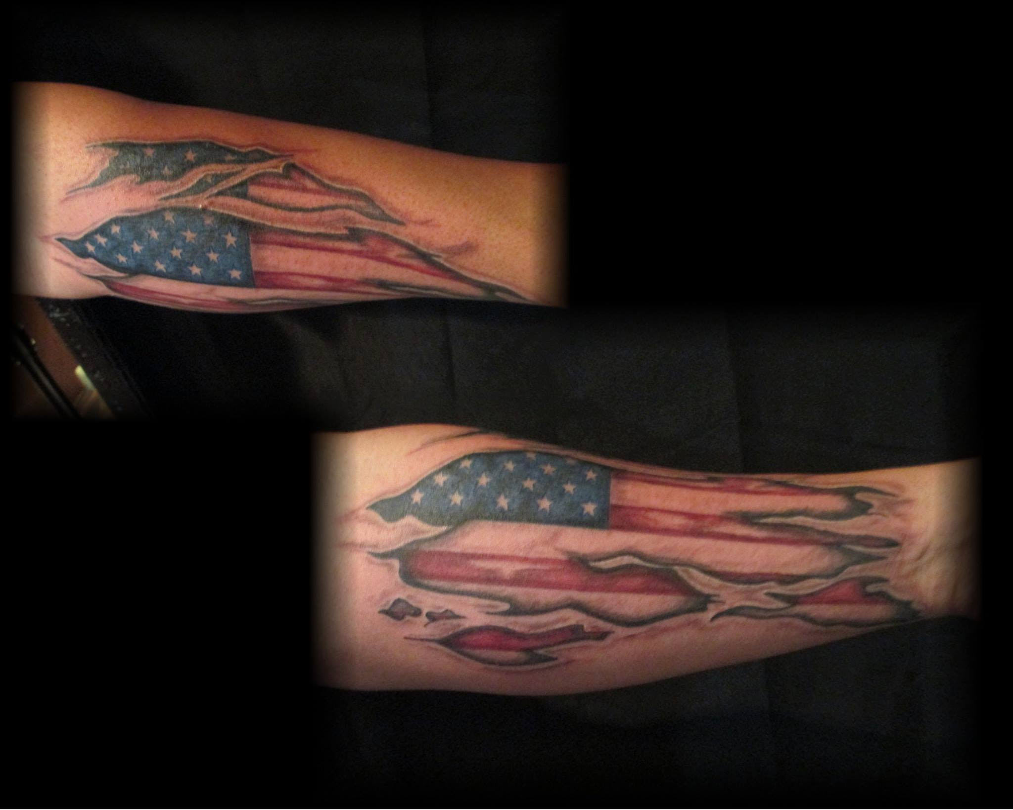 Color American Flag Torn Skin Tattoo On A Forearm