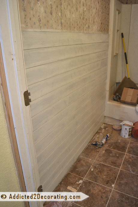 Bathroom Makeover Day 8 - Faux Wood Plank Walls, Part 2