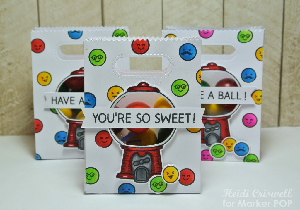 I cut the goodie bags using X-press IT Copic paper, and I stamped and colored the gumballs, using different colors of Copic Markers