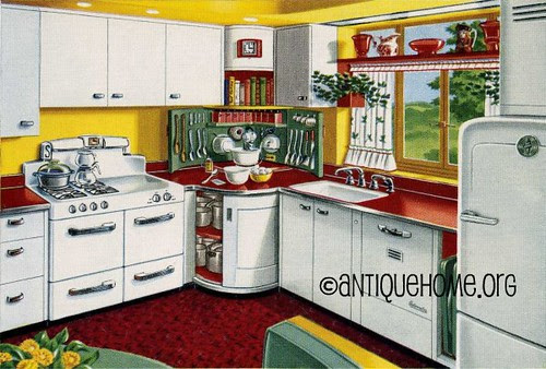 Mixing Corner - 1950s Kitchen Design in Red and Yellow - a photo ...