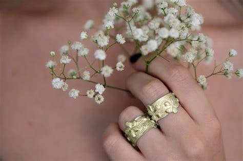 Floral Gold Wedding Ring , Wide Flower Pattern Wedding