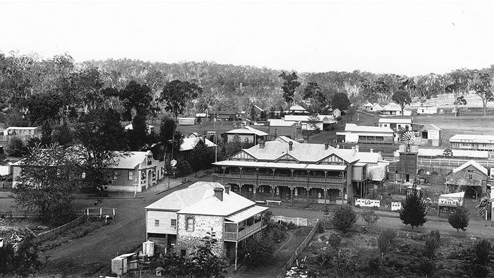 Bridgetown in 1910; The Freemasons Hotel existed as did the Shire offices, while the building on the opposite corner is also extant (Roger Machin)