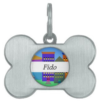 City Art on Pet ID Tag