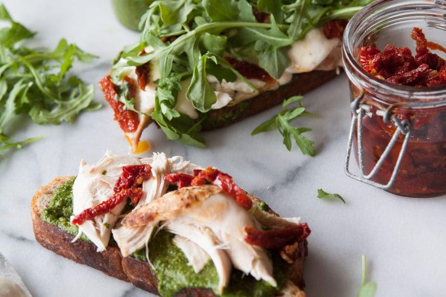 Arugula Pesto Turkey Tartine | Thanksgiving Leftover Recipes