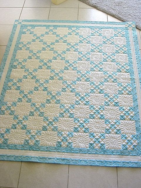 Lovely!  Turquoise Irish Chain by mjmarsh6  Amazing quilt love the colors and quilting