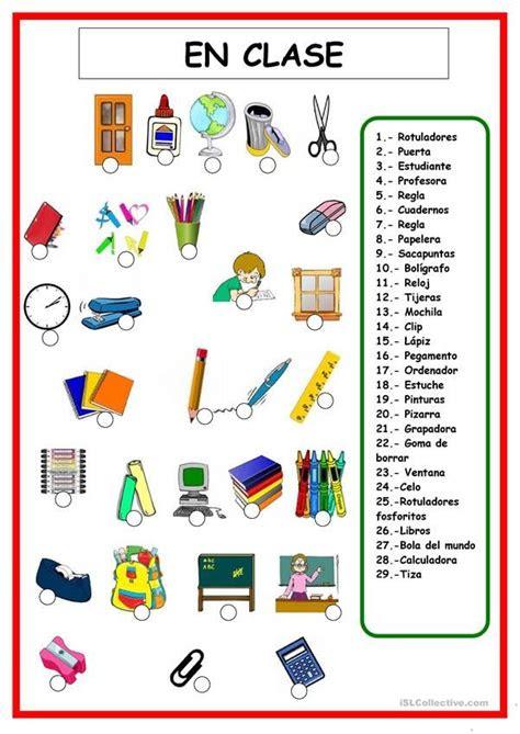 cosas de clase vocabulario espanol objetos escolares en