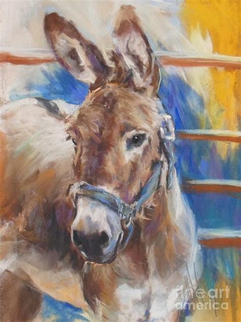 Blue Collar Donkey Painting by Debbie Anderson