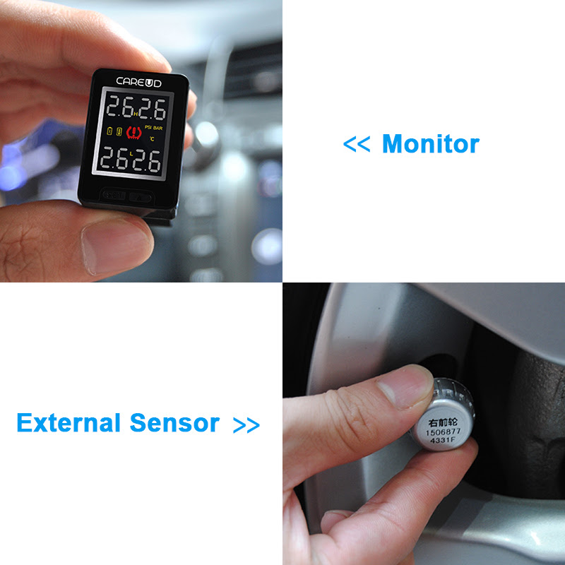 Careud U912 Car Tyre Tire Pressure Monitor System Tpms Internal Replaceable Battery Sensors