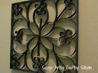 Faux Metal Wall Art/Suzys Artsy Craftsy Sitcom #recycle #crafts #wall art #diy