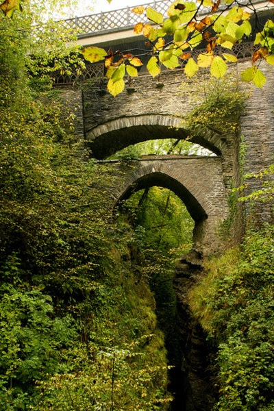 Devil's Bridge ~ is a village in Ceredigion, Wales. Above the River Mynach on the edge of the village is an unusual bridge from which the village gets its English name.