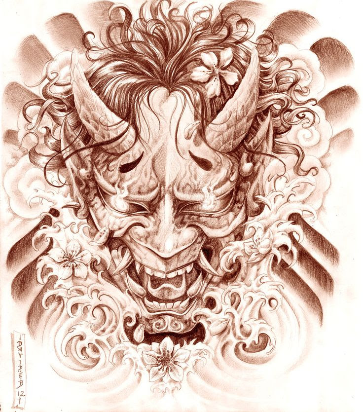 Japanese Demon Mask Drawing At Getdrawingscom Free For Personal