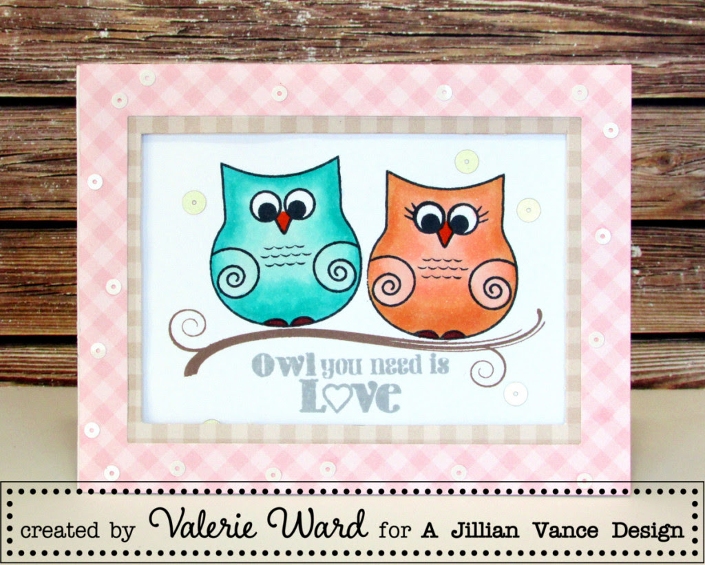 Jillian Vance stamps & sequins, MFT papers, Copics {ValByDesign, 2016}