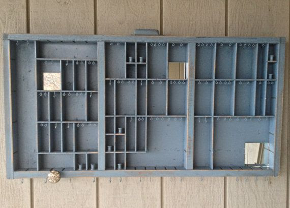 Slate Blue Vintage Jewelry Organizer by OliveTreeHandmade on Etsy, $135.00