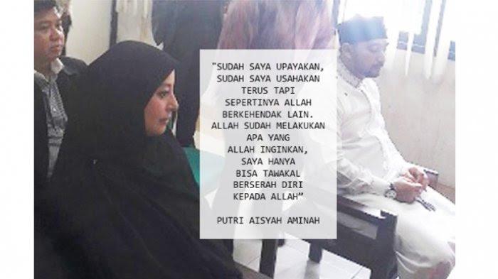 Putri Aisyah Aminah Putri Aisyah Aminah dan Ustad Al Habsyi di Pengadilan Agama, Jakarta Timur, Rabu (8/3/2017).