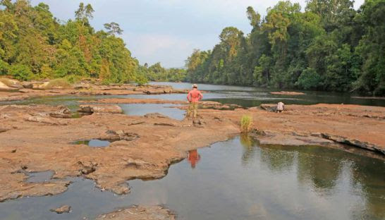 A man looks over a river in Koh Kong