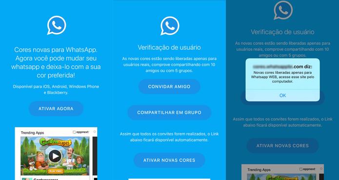 Golpe engana usuários com promessa de personalizar a cor do WhatsApp (Foto: Reprodução/Thássius Veloso)