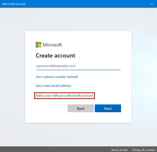 Agregar un usuario sin una cuenta de Microsoft