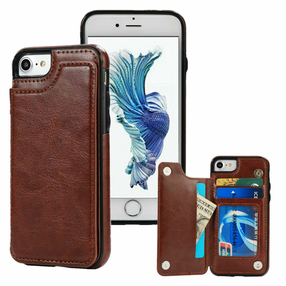 """Leather Wallet Credit Card Slot Holder Case Cover For iPhone 6s 7 Plus 4.7""""/5.5""""   eBay"""