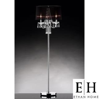 ETHAN HOME Noble 3-light Chrome Crystal Silk Shade Floor Lamp ...