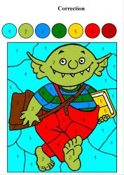 Le Petit Ogre Veut Aller à Lécole Coloriage Magique Avec Des