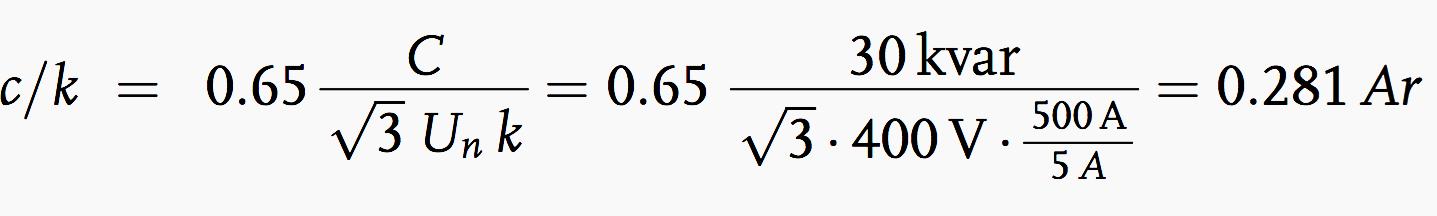 Ratio c/k formulae
