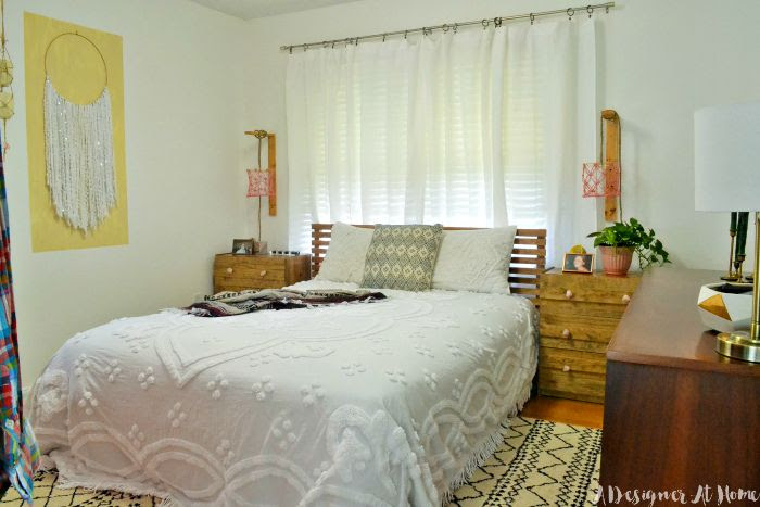 Bohemian Master Bedroom in a Small Home- Room Reveal (lots on DIY and vintage finds!)