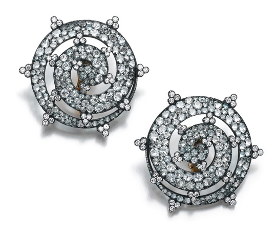 JAR earclips of beryl, tourmaline and diamond (Sotheby's)