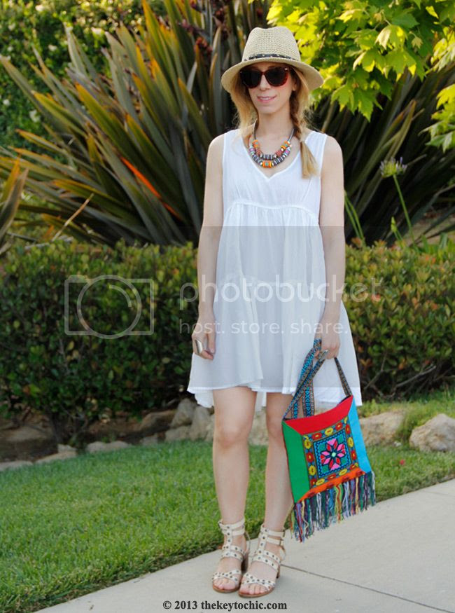 Mossimo straw hat, Heavenly Couture white dress, Mango studded gladiator sandals, Los Angeles fashion blog