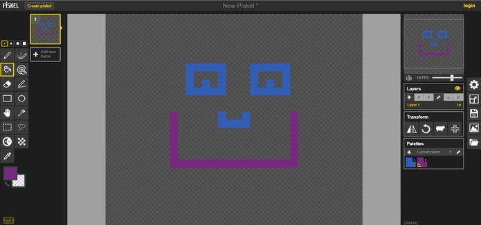 Piskel permite fazer Pixel Art de forma prática e salvar em GIFs (Foto: Reprodução/Barbara Mannara)
