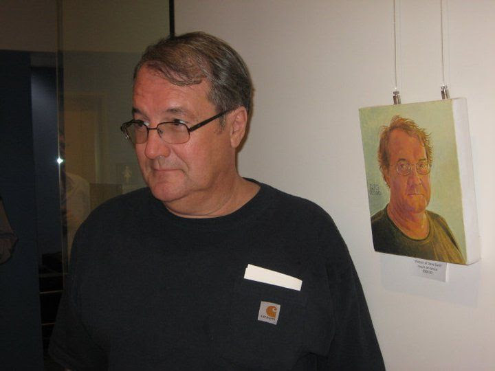 Steve Smith with his portrait
