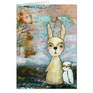 Rabbit and Owl Whimsical Woodland Creatures Card