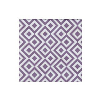 Purple and White Meander Stone Magnet