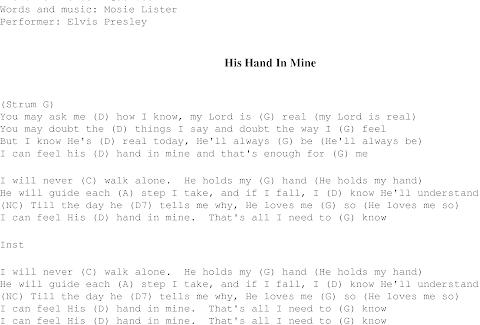 I Can Feel His Hand In Mine Lyrics