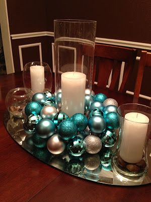 DIY ornament centerpiece...really pretty!