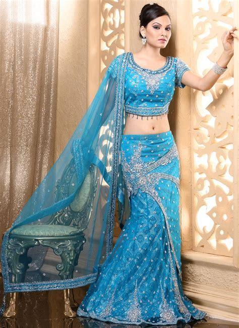 Bridal   Multicolor Lehenga Style Saree   Bridal Lehenga