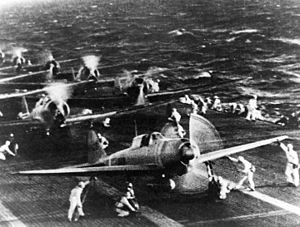 Japanese naval aircraft prepare to take off fr...