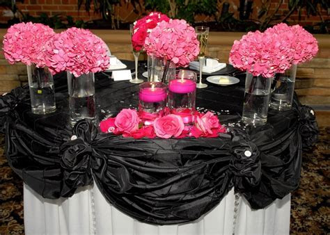 wedding idea Head table, hot pink, black, and white   Our