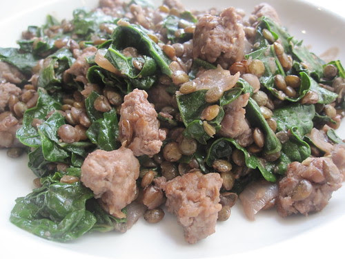French green lentils with homemade sausage, kale and red wine