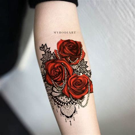 florence red rose black lace temporary tattoo lace