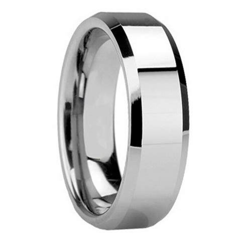 Mens 8MM TUNGSTEN Carbide Polish Wedding Band Ring His