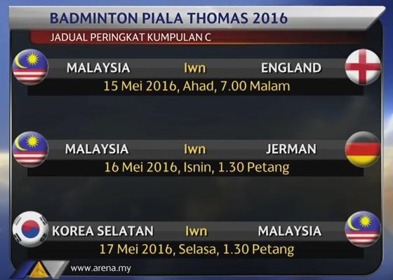Jadual Piala Thomas 2016