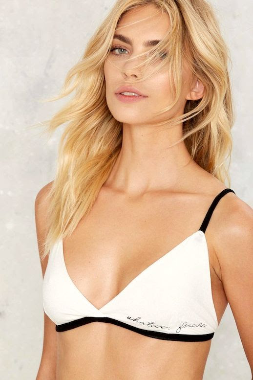Le Fashion Blog Blonde Wavy Hair Under $25 Black And White Embroidered Bra Via Nastygal